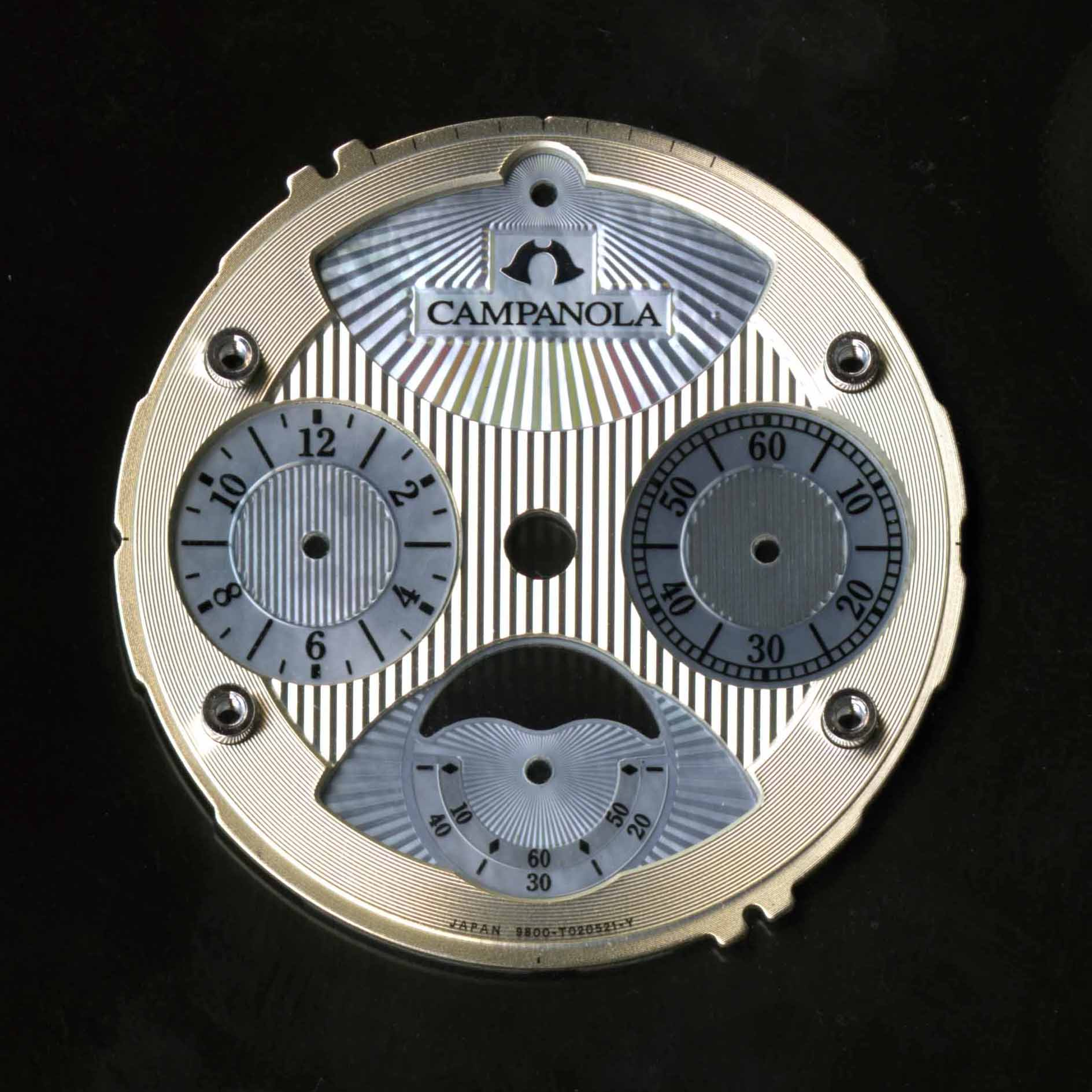 Electro-cast(metal) dial plate with cut shell surface